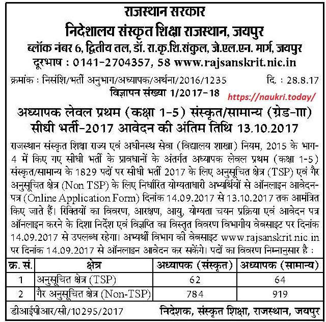Raj Sanskrit Paper Notification