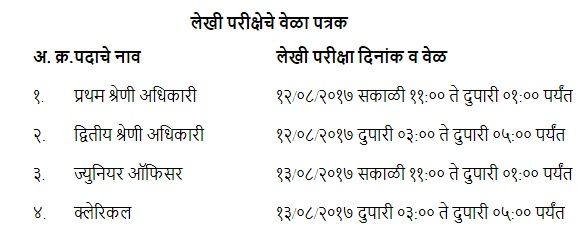 ADCC Bank Exam Schedule