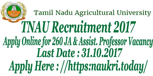 TNAU Recruitment 2017