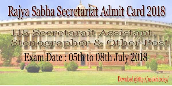 Rajyasabha Secretariat Admit Card