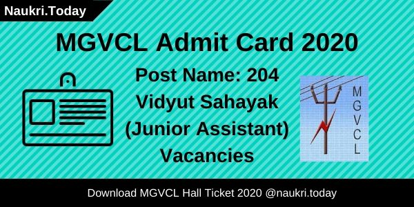 MGVCL Admit Card