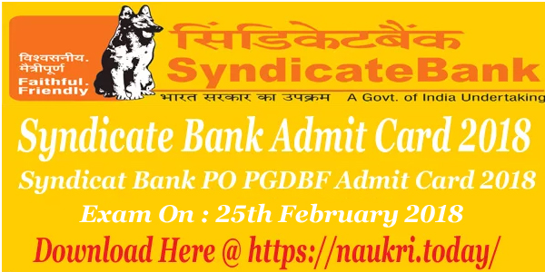 Syndicate Bank Admit Card 2018