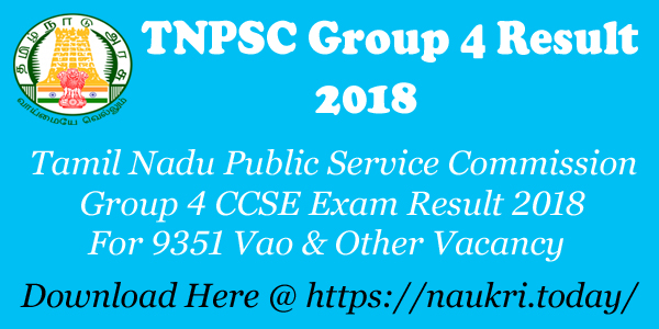 TNPSC Group 4 Result 2018