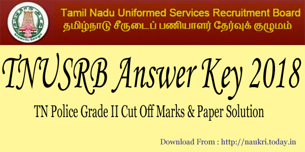 TNUSRB Answer Key 2018