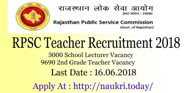 RPSC Teacher Recruitment 2018