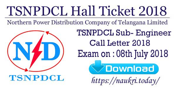 TSNPDCL Hall Ticket 2018