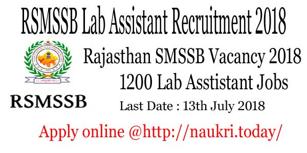 RSMSSB Lab Assistant Recruitment