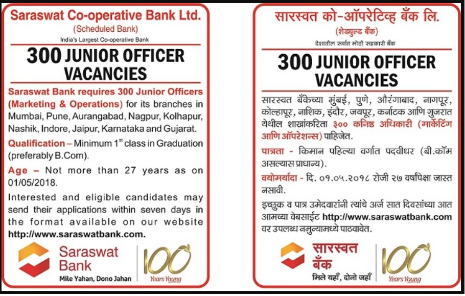 Saraswat Bank Notification