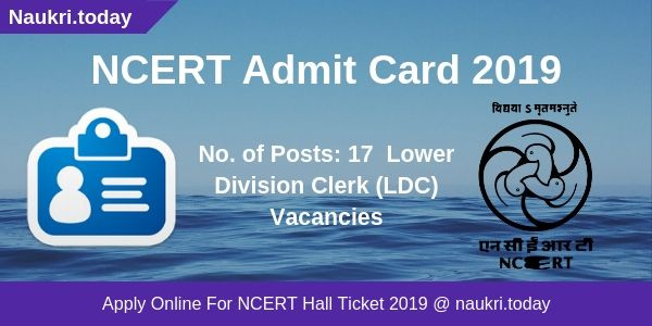 NCERT Admit Card 2019