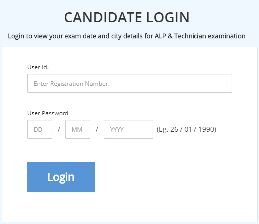 RRB ALP Technician Admit Card