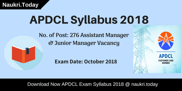 APDCL Syllabus 2018 For 276 AM & JM Vacancies Download Here