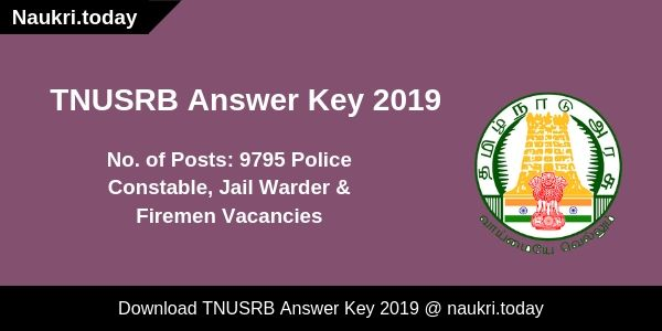 TNUSRB Answer Key