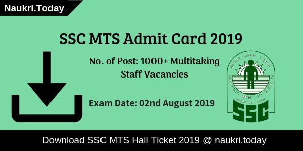 Download SSC MTS Admit Card 2019 | SSC MTS Paper I Call Letter