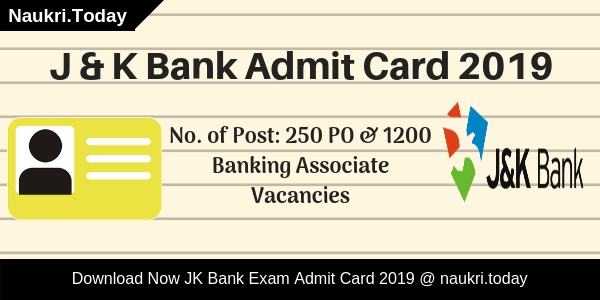 J & K Bank Admit Card