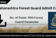 Mahaforest Admit Card