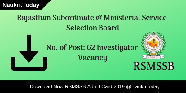 RSMSSB Supervisor Recruitment 2018 - Apply Online 309