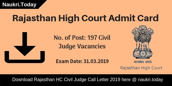 Rajasthan High Court Admit Card