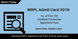 MRPL Admit Card