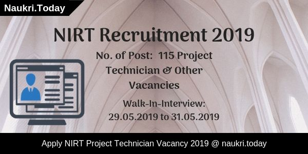 NIRT Recruitment