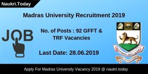 Madras University Recruitment 2019