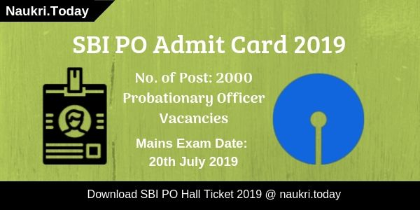 SBI PO Admit Card