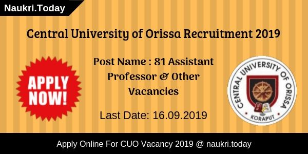 Central University of Orissa Recruitment
