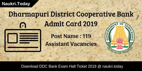 Dharmapuri District Cooperative Bank Admit Card