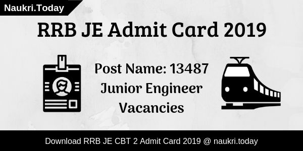 RRB JE Admit Card