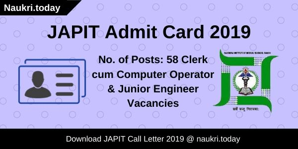 JAPIT Admit Card