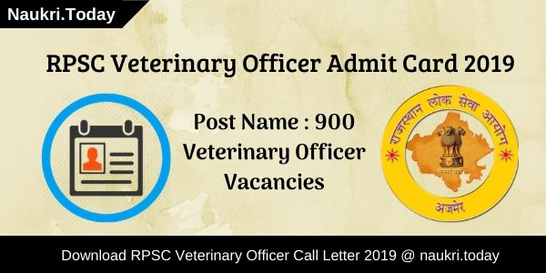 RPSC Veterinary Officer Admit Card