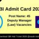 SBI Admit Card 2020