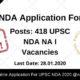 UPSC NDA Application Form