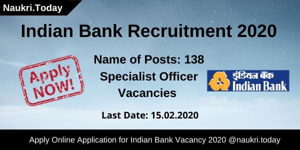 Indian Bank Recruitment 2020