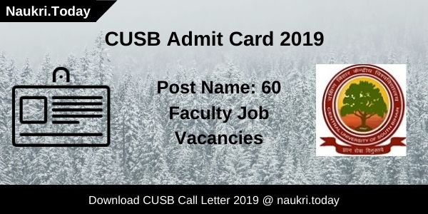 CUSB Admit Card 2019