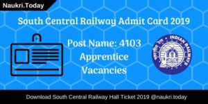 South Central Railway Admit Card