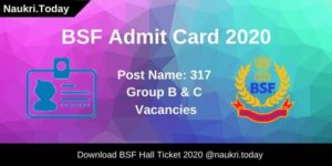 BSF Admit Card 2020