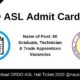 DRDO ASL Admit Card 2020