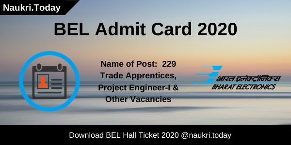 BEL Admit Card 2020