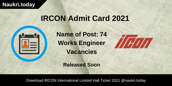 IRCON Admit Card 2021