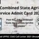 UPPSC Combined State Agriculture Service Admit Card